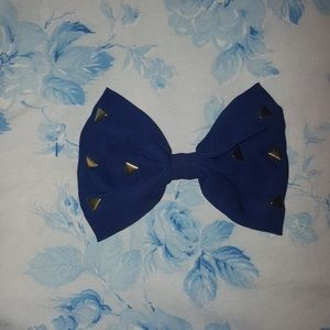Blue and gold hair bow
